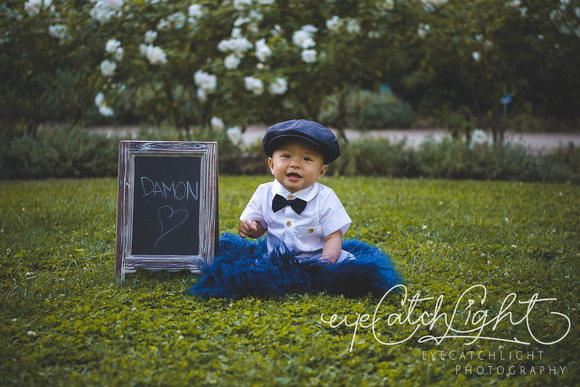One year old baby boy photography in shirt and hat outfit in Palo Alto