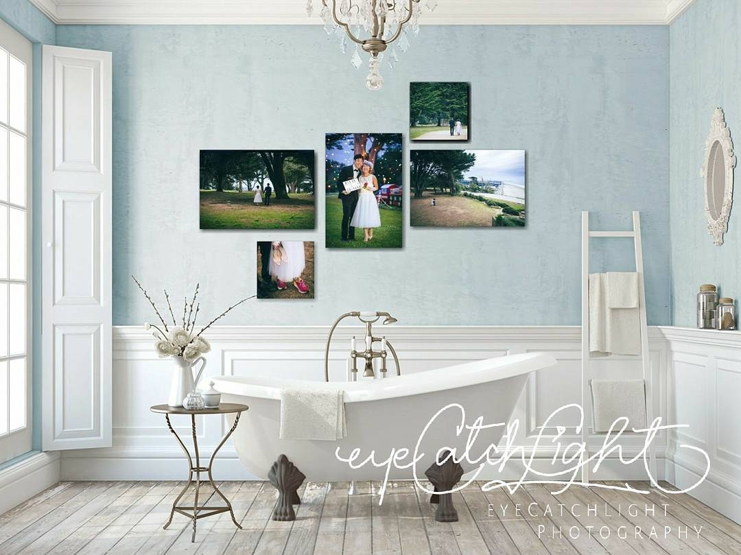 This is the wedding wall art gallery collection Diann and Chikara selected for their wedding portraits. :)I don't think they have this bathroom, but that's what my services are here for - to show you