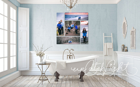 Family portrait wall art collection featuring photography at Moss Beach