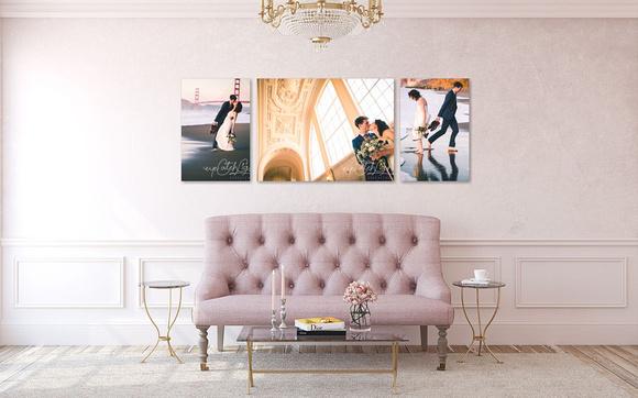 Wedding Wall Art Collection Visualized In A Rustic Modern Room - Santa Cruz Wedding Photography